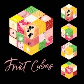Collection of Isometric frut cubes on black background Colorful vector food illustration for healthy food cafe restaurant fruits and grocery market