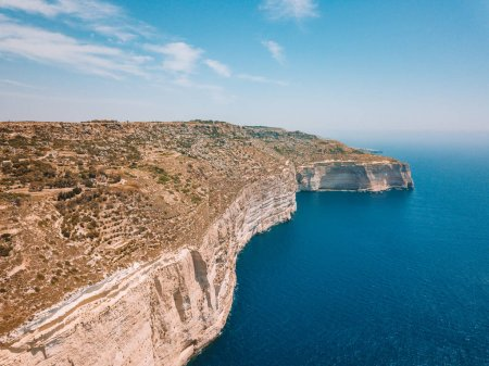 Beautiful view on the white steep cliffs on the island of Malta.