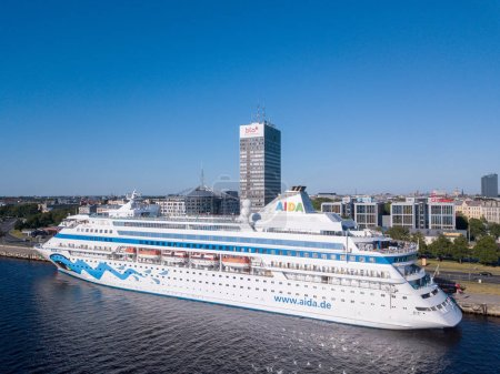 Riga, Latvia. June 04, 2018. Aerial view of the MSC Orchestra cruise ship docked in Riga by the old town.
