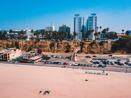 Beautiful Venice beach aerial view near Santa Monica pier
