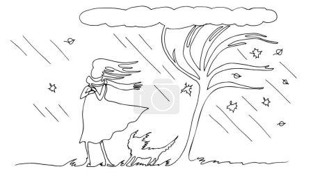 Illustration pour Une femme avec un chien sous un arbre est dessinée par une ligne continue. Pluie et vent d'automne. Illustration vectorielle de contour simple - image libre de droit
