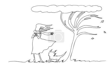 Illustration pour Une femme avec un chien sous un arbre est dessinée par une ligne continue. Vent d'automne. Illustration vectorielle de contour simple . - image libre de droit