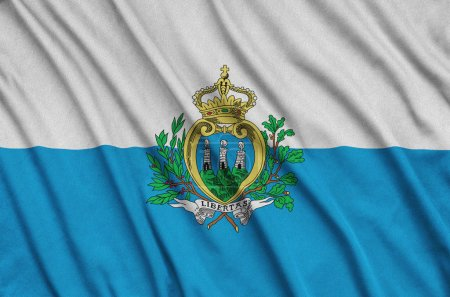 San Marino flag  is depicted on a sports cloth fabric with many folds. Sport team waving banner
