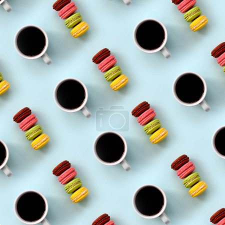 Photo for A pattern of many colorful dessert cake macaroon and coffee cups on trendy pastel blue background top view. Flat lay composition. - Royalty Free Image