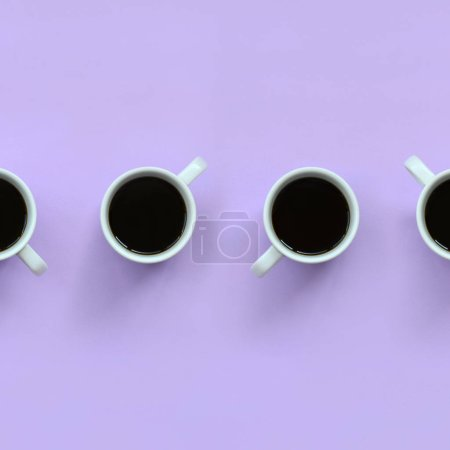 Photo for Many small white coffee cups on texture background of fashion pastel violet color paper in minimal concept. - Royalty Free Image