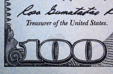 Macro shot. Hundred US dollar bill close up.