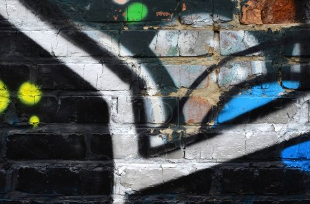 Photo for Fragment of graffiti drawings. The old wall decorated with paint stains in the style of street art culture. Colored background texture. - Royalty Free Image