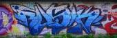 """Постер, картина, фотообои """"Полный и совершена граффити искусства. Старые стены украшены пятна краски в стиле стрит художественной культуры. Цветной фоновой текстуры."""""""