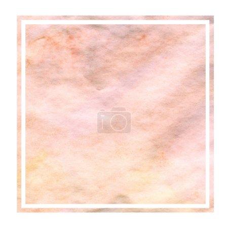 Photo pour Jaune chaud dessiné à la main aquarelle cadre rectangulaire texture de fond avec des taches. Élément de design moderne - image libre de droit