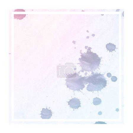 Photo pour Espace couleurs dessiné à la main aquarelle cadre rectangulaire texture de fond avec des taches. Élément de design moderne - image libre de droit