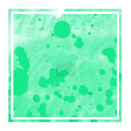 Photo pour Turquoise aquarelle dessinée à la main cadre rectangulaire texture de fond avec des taches. Élément de design moderne - image libre de droit