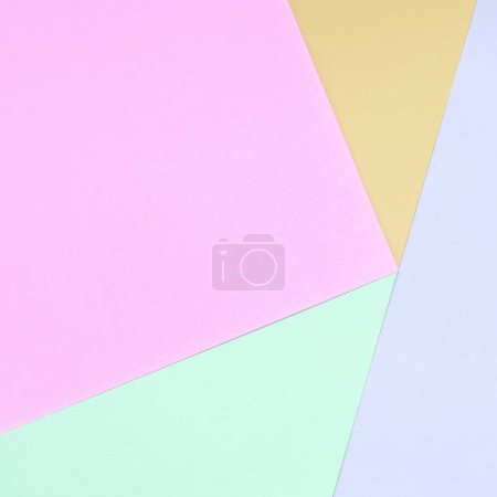 Photo for Texture background of fashion pastel colors. Pink, violet, orange and blue geometric pattern papers. minimal abstract. - Royalty Free Image
