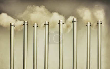 Photo for Chimneys and smokestack pollution - Royalty Free Image