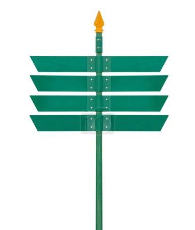 Photo pour Signe vert de direction vide d'isolement sur le fond blanc. Objet avec chemin de coupure. - image libre de droit