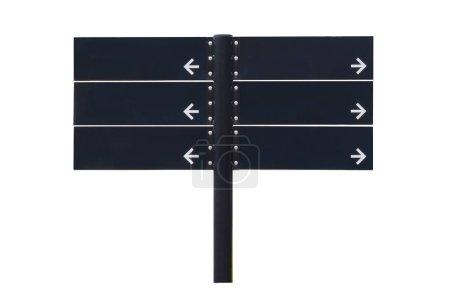 Photo pour Signe noir de direction vide d'isolement sur le fond blanc. Objet avec chemin de coupure. - image libre de droit