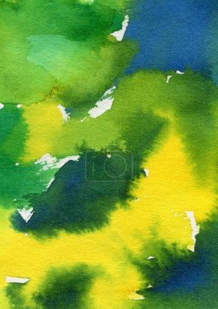Photo pour Bleu vert et jaune des aquarelle. Illustration de pinceau moderne. Peut être utilisé pour l'impression: sacs, t-shirts, décor à la maison, affiches, cartes et pour le web: bannières, blogs, publicité. - image libre de droit