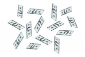 One Hundred dollar bills are flying A lot of banknotes on a white background Flat vector illustration EPS10