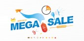 Mega Sale 50 banner template design with light effects and icons for shop Loudspeaker and paper airplane with special offer Vector illustration