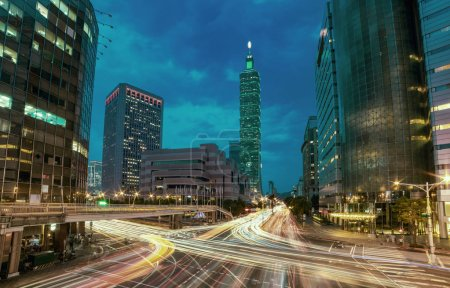Photo for Taipei cityscape at rush hour at night, Taiwan - Royalty Free Image