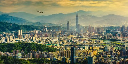 Photo for Taipei cityscape at rush hour, Taiwan - Royalty Free Image
