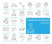 Connected Car service Icons set Isolated on white background Vector illustration