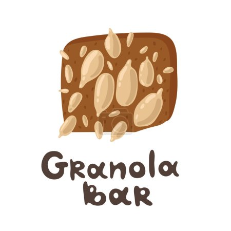 Granola bar with cereals, sunflower seed. Web and printing. Healthy eating concept. Top view of hand drawn healthy and an energy protein bar. Flat styled food illustration. Healthy lifestyle concept.