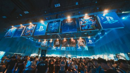 Photo for Bangkok, Thailand - Aug 18, 2018: Crowd of gamer attending stage show event of PlayStation Experience SEA (South East Asia) 2018, video game demo exhibition held for the first time in Bangkok Thailand - Royalty Free Image