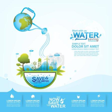 Photo pour Enregistrer concept de vecteur d'eau - image libre de droit