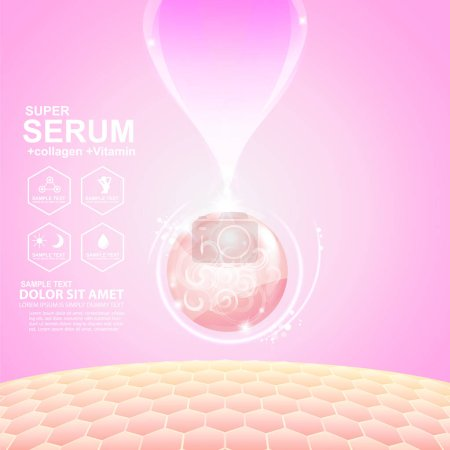 Photo for Serum drop and vitamin beauty skincare vector concept cosmetic for skin care Products. - Royalty Free Image