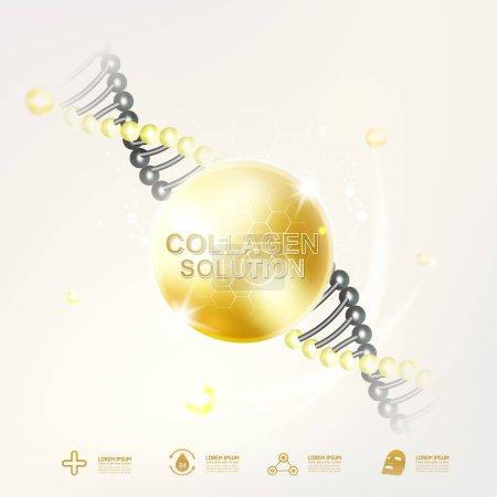 Photo pour Sérum de collagène et vitamines beauté fond Concept vecteur pour la peau soins cosmétiques. - image libre de droit