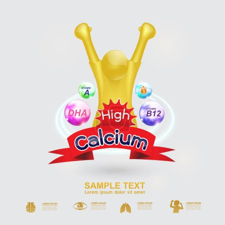 Nutrition Omega 3 and Vitamins or Calcium Logo icon for Products for Kids Vector