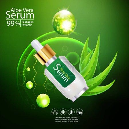 Photo pour Aloe Vera sérum et collagène Vitamine Soins de la peau Cosmétique Contexte Concept vectoriel - image libre de droit