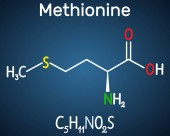Methionine l- methionine Met  M essential amino acid molecule Structural chemical formula on the dark blue background