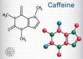 Caffeine molecule Structural chemical formula and molecule model Sheet of paper in a cage