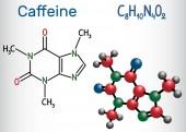 Caffeine molecule Structural chemical formula and molecule model