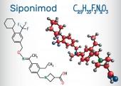 Siponimod S1PR1 modulator molecule Structural chemical formula and molecule model