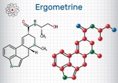 Ergometrine drug molecule Sheet of paper in a cage Structural chemical formula and molecule model