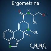 Ergometrine drug molecule Structural chemical formula on the dark blue background