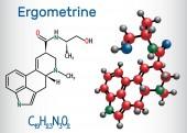 Ergometrine drug molecule Structural chemical formula and molecule model