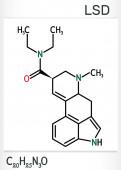 Lysergic acid diethylamide LSD molecule It is a hallucinogenic drug Structural chemical formula