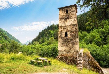 Svan tower in Svaneti countryside, Georgia