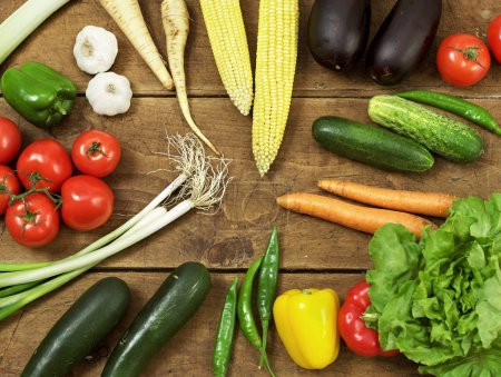 Photo for Fresh vegetable on wood - Royalty Free Image