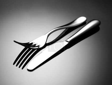 Photo for Fork and knife on black - Royalty Free Image
