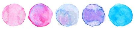 Photo pour Collection cercle aquarelle sur blanc - image libre de droit