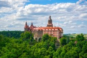 Scenic view of Ksiaz Castle near Walbzych at summer day. Third the biggest castle in Poland