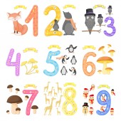 Set children Flashcard number tracing learning to count and to write learning the numbers 0-10