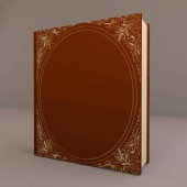 Book with a hardcover ornamentation 3d illustration isomeric projection. Decorative vintage book