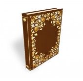 Book with a hardcover ornamen 3d illustration isomeric projection. Decorative vintage book