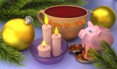 Happy New Year greeting card with Christmas balls, candles and a pig. 3D rendering