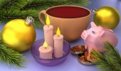 Merry Christmas greeting card with christmas balls, candles and pig on white background. 3D rendering